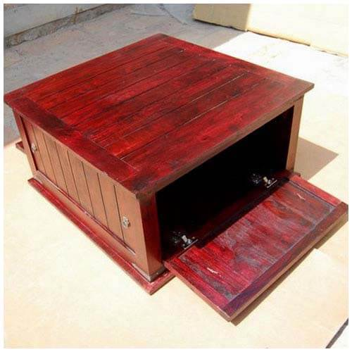 Cherry wood square storage trunk coffee table new for Square wood coffee table with storage