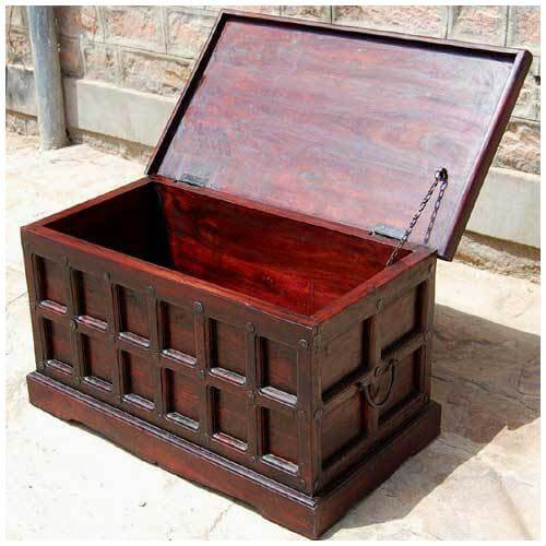 Cherry Wood Storage Chest Trunk Toy Box Coffee Table Sale
