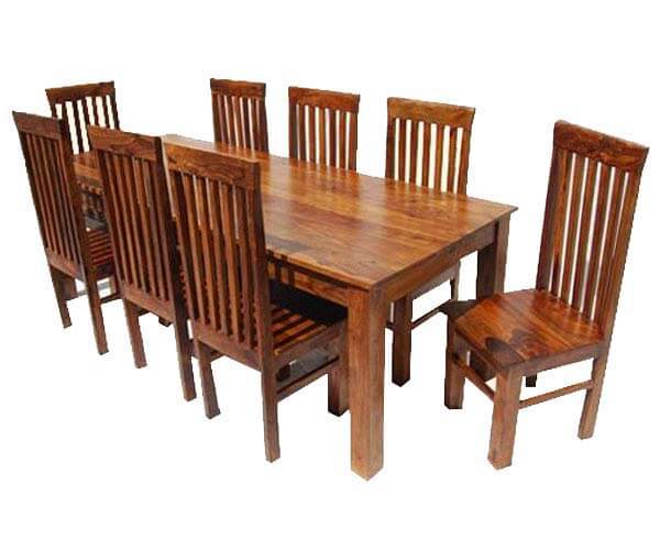 Rustic 9 Piece Dining Table And 8 Chairs Set Solid Wood
