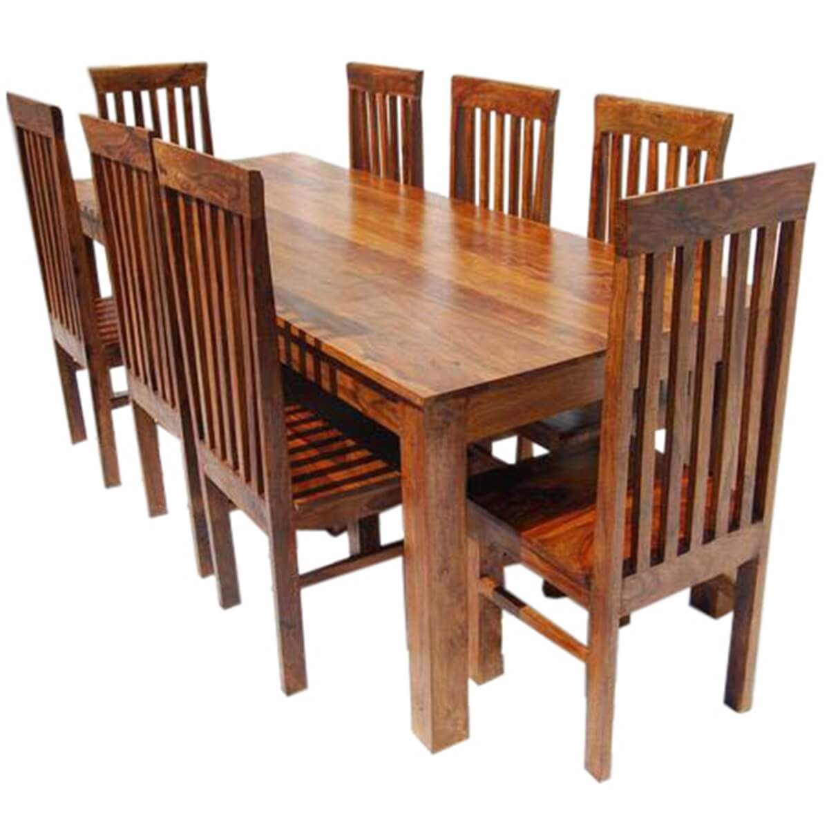 Rustic Kitchen Tables And Chairs: Rustic 9 Piece Dining Table And 8 Chairs Set Solid Wood