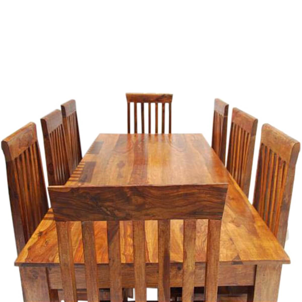 Rustic Furniture Solid Wood Large Dining Table 8 Chair Set: Rustic 9 Piece Dining Table And 8 Chairs Set Solid Wood