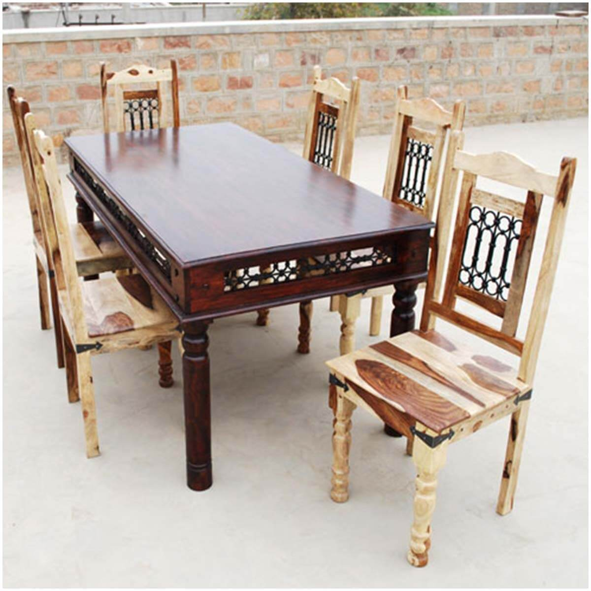 p dallas formal 7pc dining room table and vandana chairs