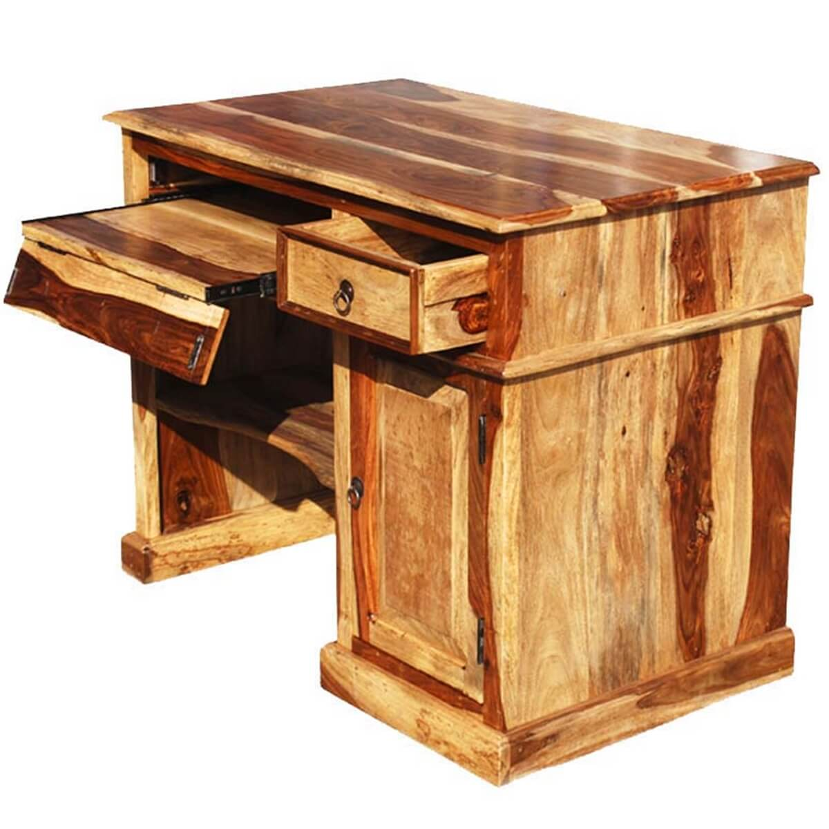 Solid wood computer desk for small space - Unfinished wood desks ...