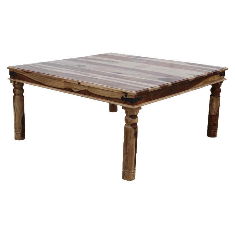 Dallas ranch solid wood square handmade dining room table for Unique wood dining room tables