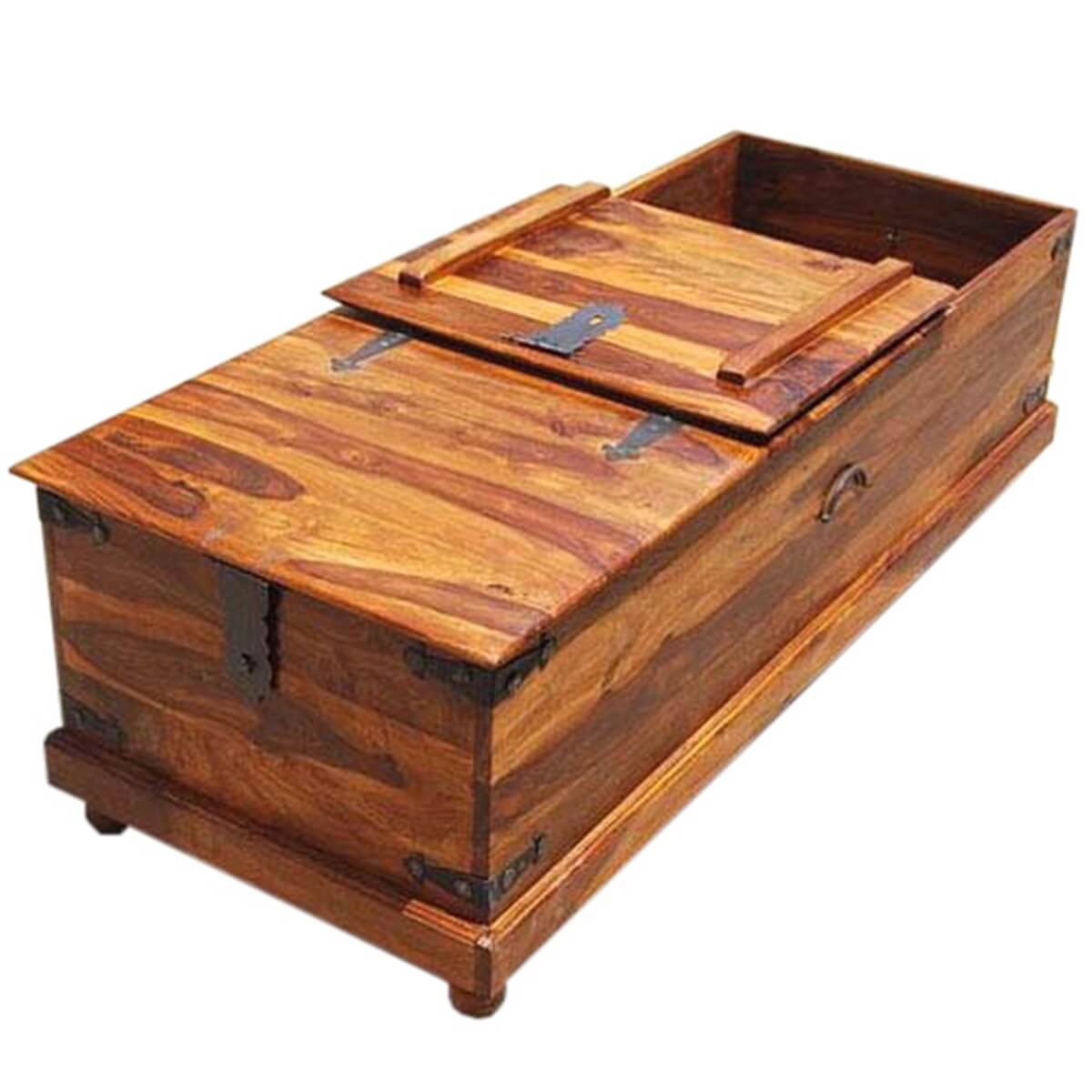 Solid wood bedroom kokanee rustic storage coffee table for Bedroom coffee table