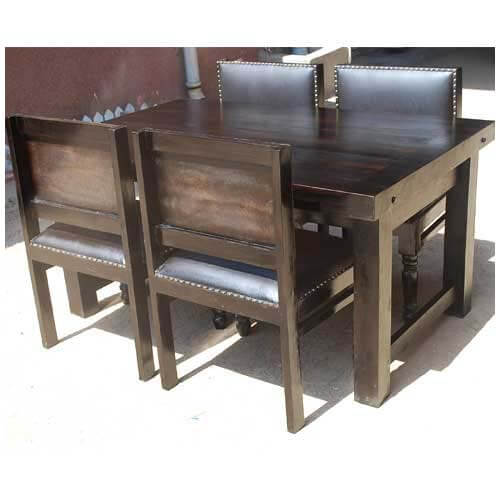 Contemporary 5pc Solid Wood Dining Room Table and Leather Chairs Set