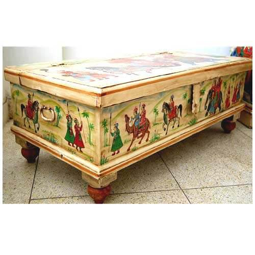 Large Hand Painted Storage Hope Chest Wood Coffee Table
