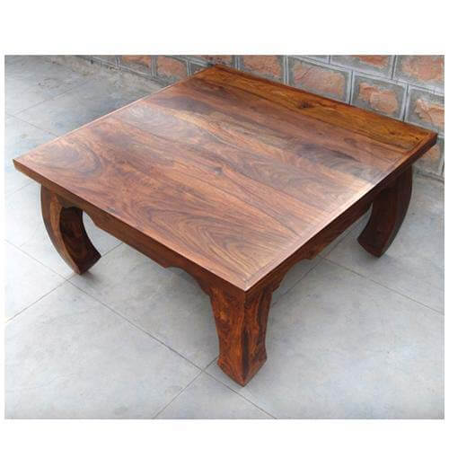 Rustic Square Large Cocktail Opium Coffee Table With Curved Legs