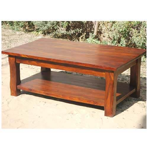 Large rustic wood occasional cocktail coffee table for Rustic oversized coffee table