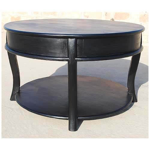 Black Solid Wood Coffee Table: Large Solid Wood Round Sofa Cocktail Black Coffee Table