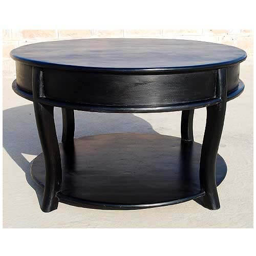 Coffee Table Dimensions Round Coffee Table Big Coffee: Large Solid Wood Round Sofa Cocktail Black Coffee Table
