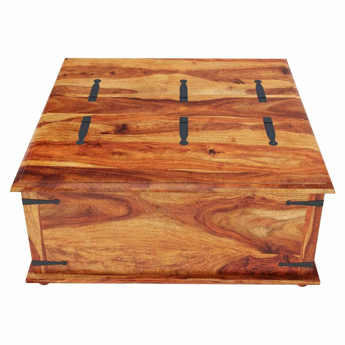 Large square storage box trunk with metal accents coffee table Metal chest coffee table