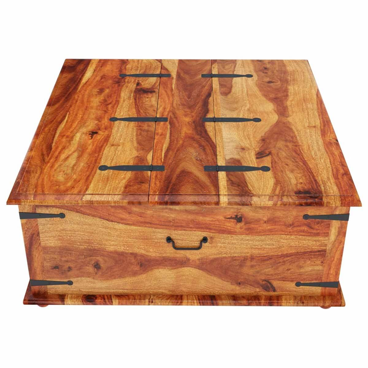 coffee tables large square storage box trunk with metal accents coffee