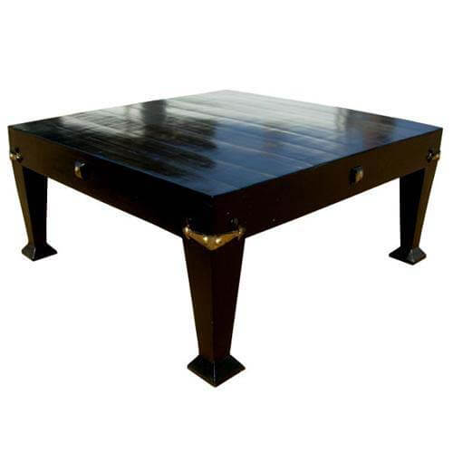 Large Solid Wood Traditional Black Square Top Coffee Table