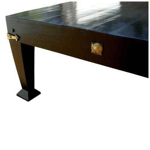 Black Solid Wood Coffee Table: Large Solid Wood Traditional Black Square Top Coffee Table