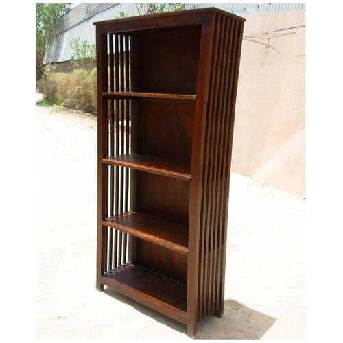 Large wood mission style rustic bookcase display rack