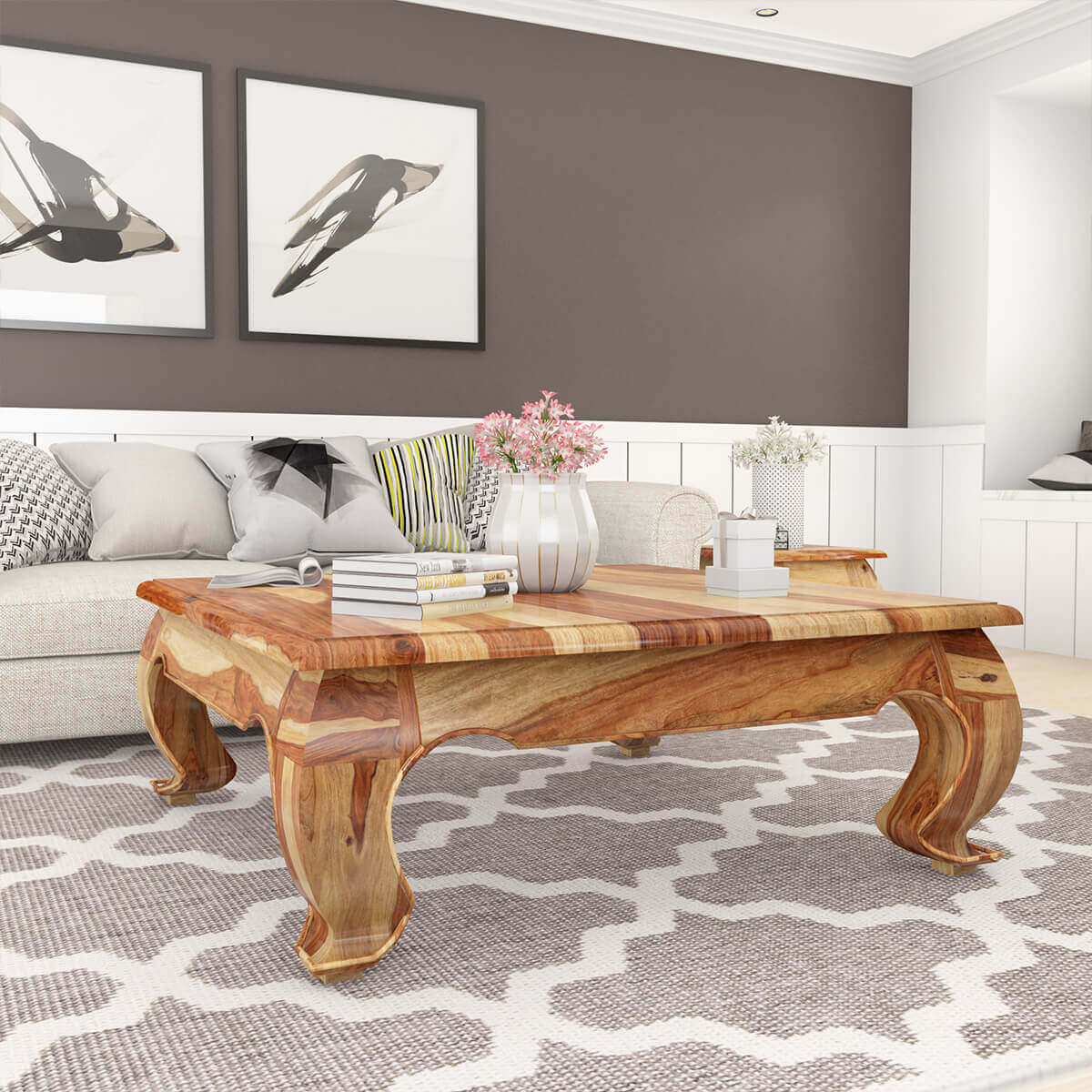 Large square solid wood opium coffee table for Coffee table