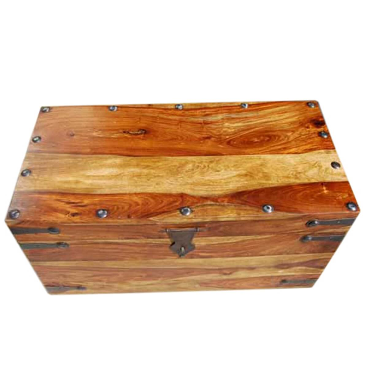 Solid Wood Dallas Trunk Coffee Table With Wrought Iron