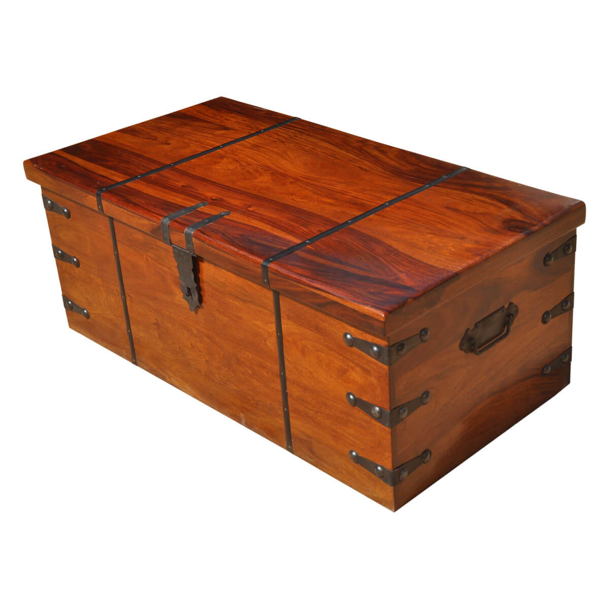 Large solid wood with metal accents storage trunk coffee table chest Metal chest coffee table