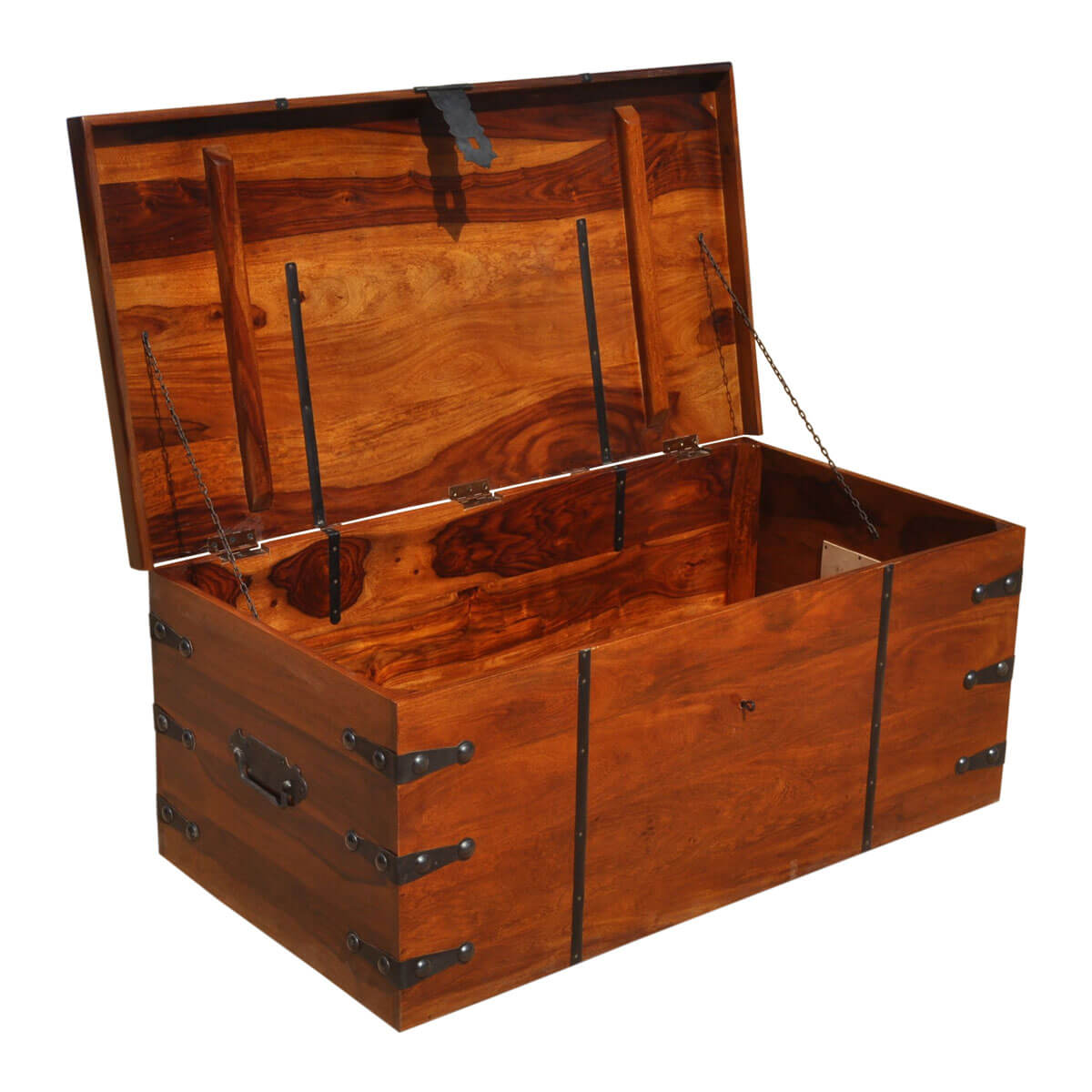 Extra Large Storage Trunk Coffee Table: Large Solid Wood With Metal Accents Storage Trunk Coffee
