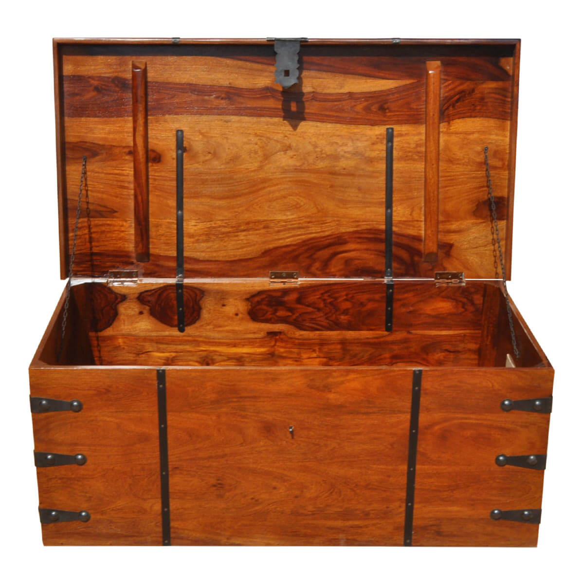 Large solid wood with metal accents storage trunk coffee