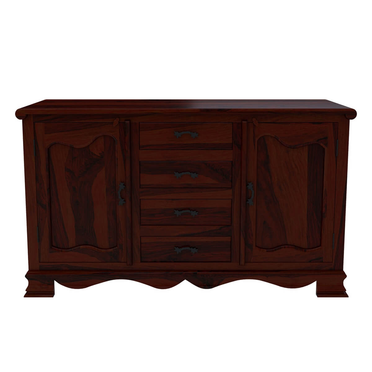 French Solid Rosewood Buffet Sideboard Dining Room Cabinet