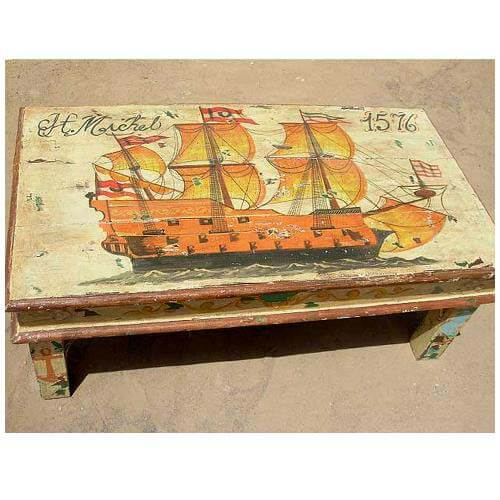 Hand Painted Distressed Coffee Table: Distressed Finish Hand Painted Wood Sofa Coffee Table