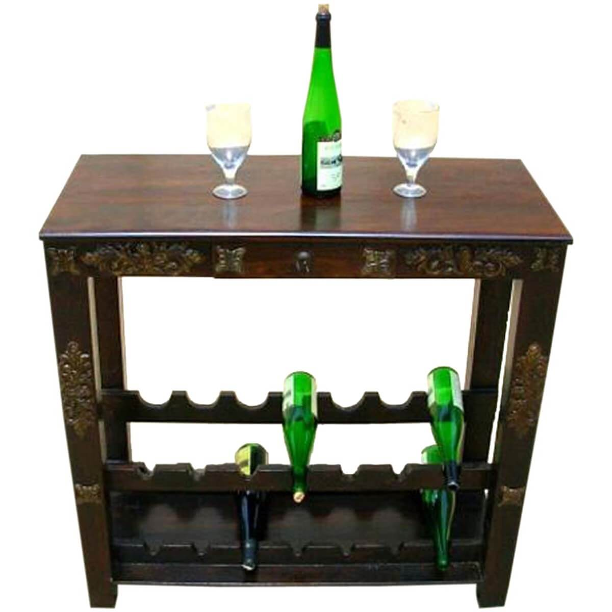 Highvale antique brass inlay solid wood wine rack console for Old wine rack