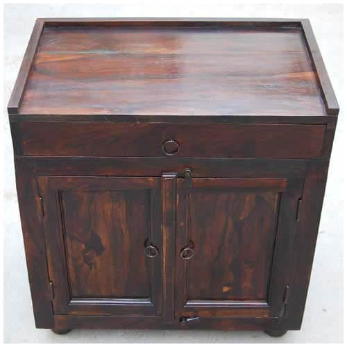Kitchen Table Top Cabinet: Espresso Wood Storage Drawer Kitchen Cabinet Side Table