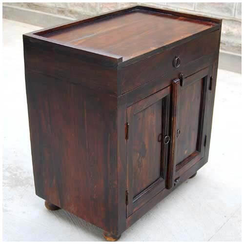 Kitchen Side Table: Espresso Wood Storage Drawer Kitchen Cabinet Side Table