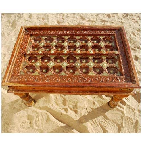 Golden Diamond Heritage Solid Wood & Brass Coffee Table