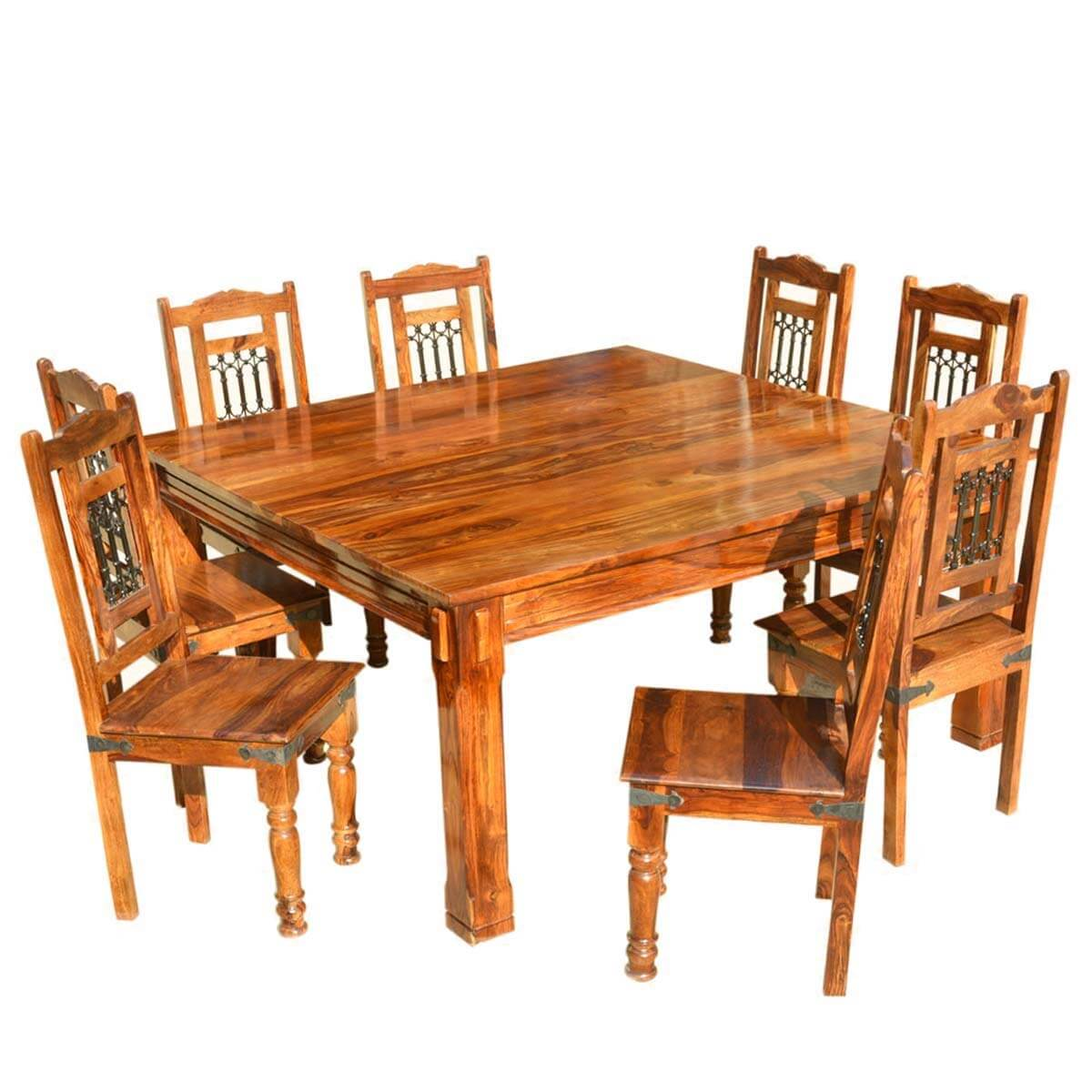 Rustic Solid Wood Large Square Dining Table Chair Set: Solid Wood Rustic Square Dining Table Chairs Set