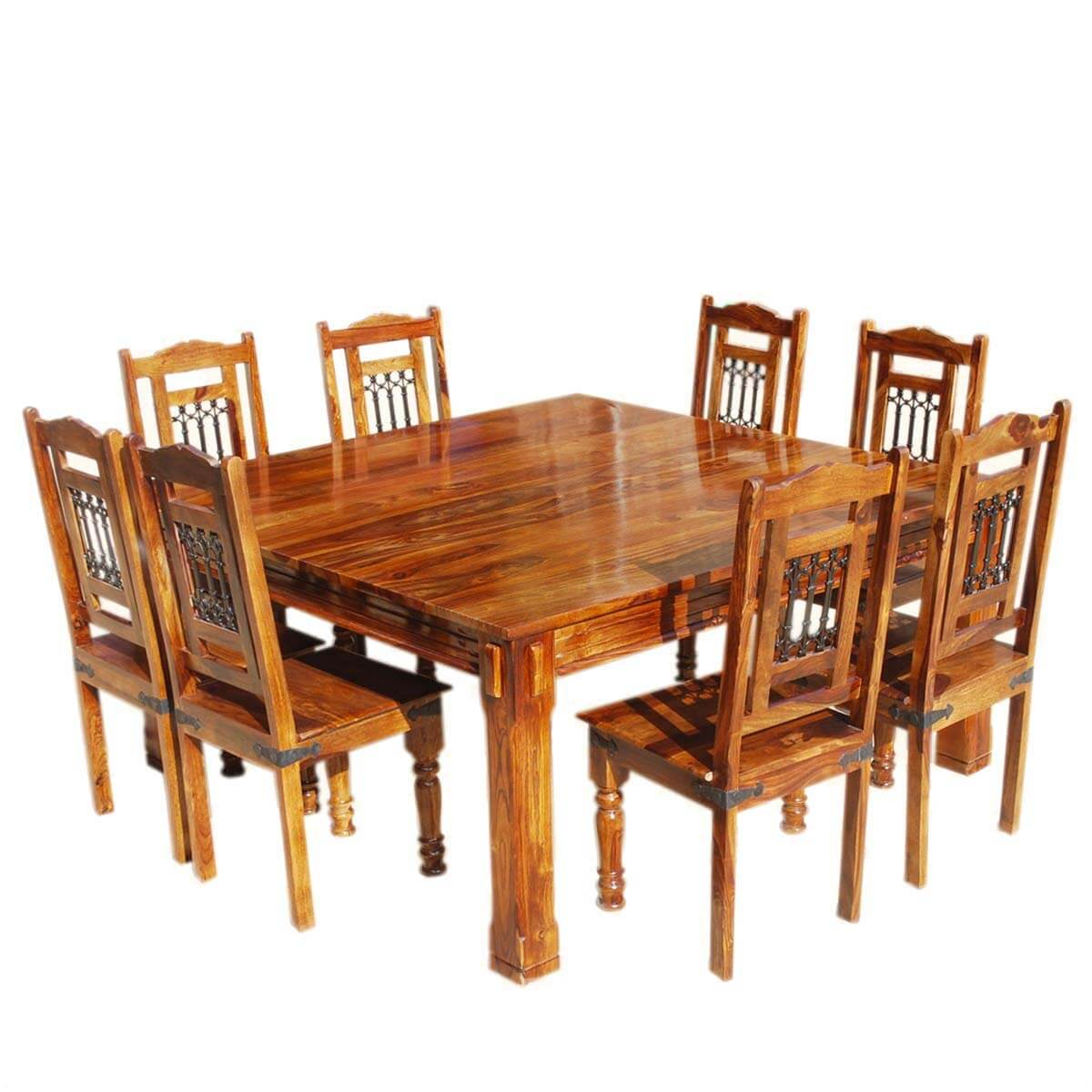 Solid wood rustic square dining table chairs set for Wood dining table set