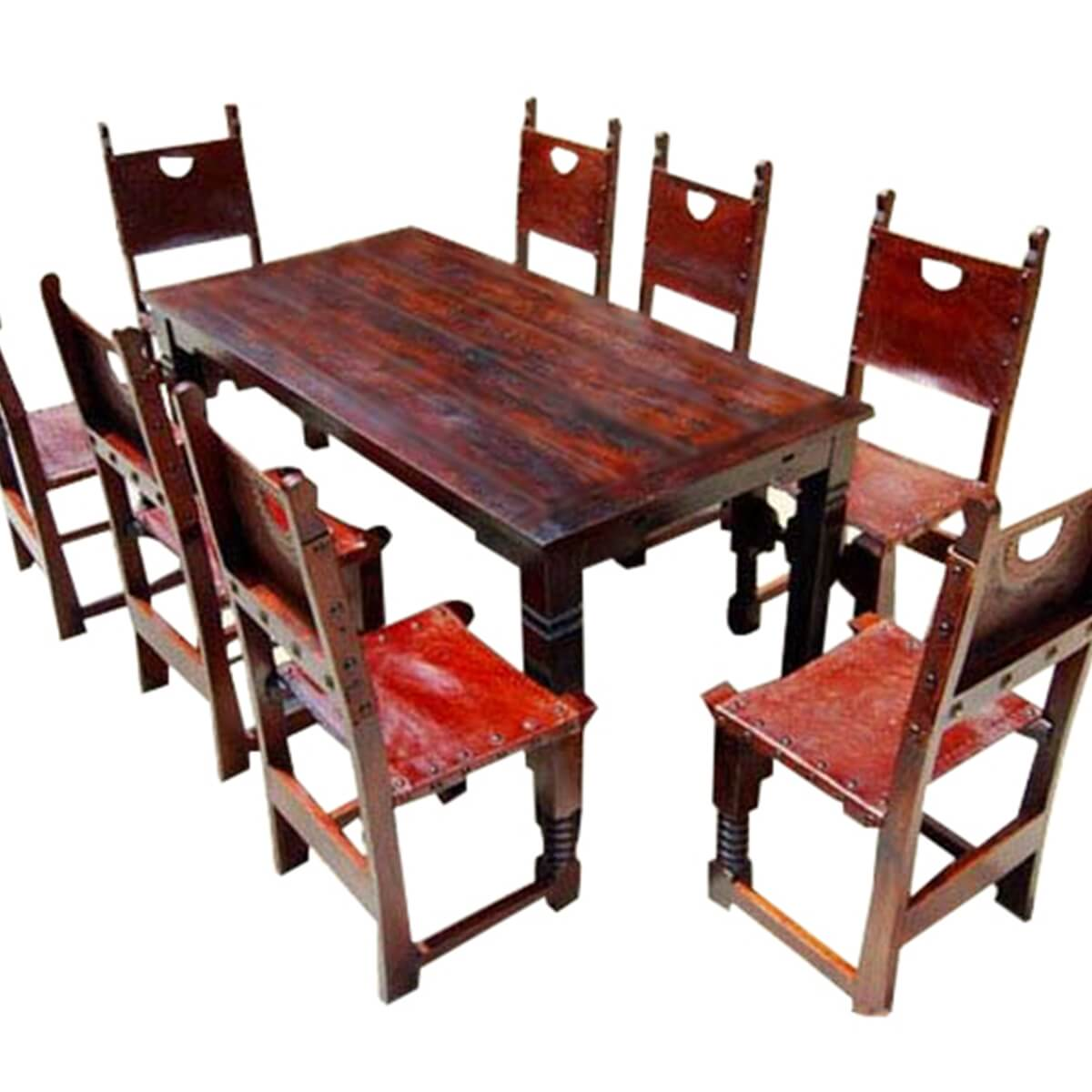 9 pc rustic solid wood dining table and chair set w extension
