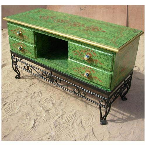Antique green wood and wrought iron credenza cabinet