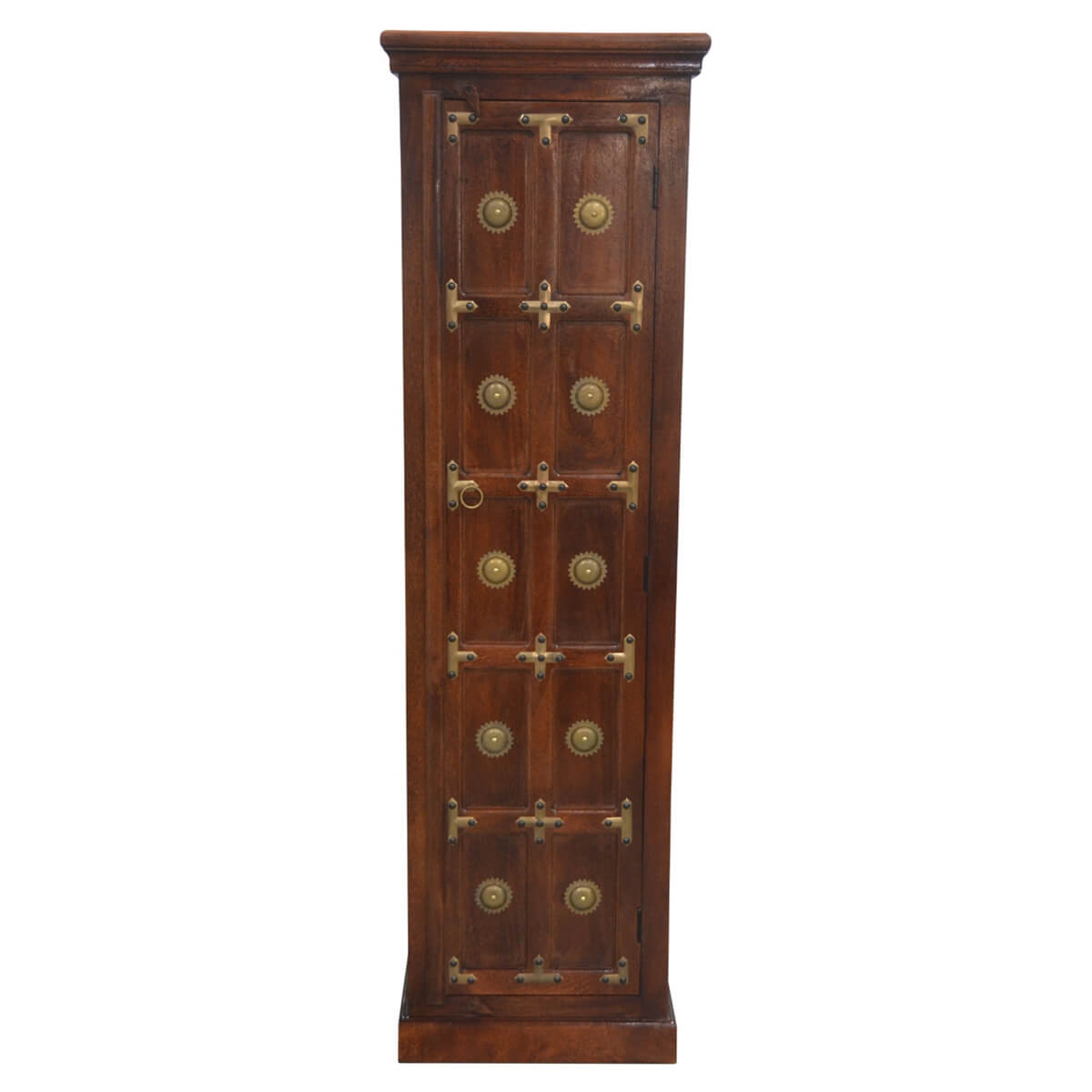 Antique heritage brass accents wood storage cabinet new