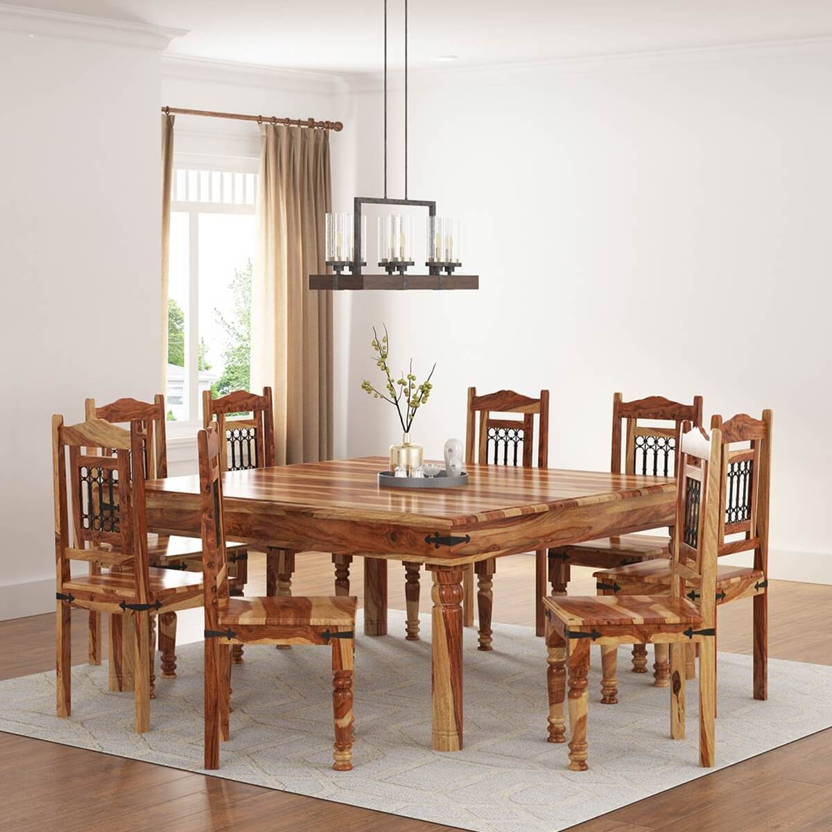 Peoria solid wood large square dining table chair set for Solid wood dining table sets