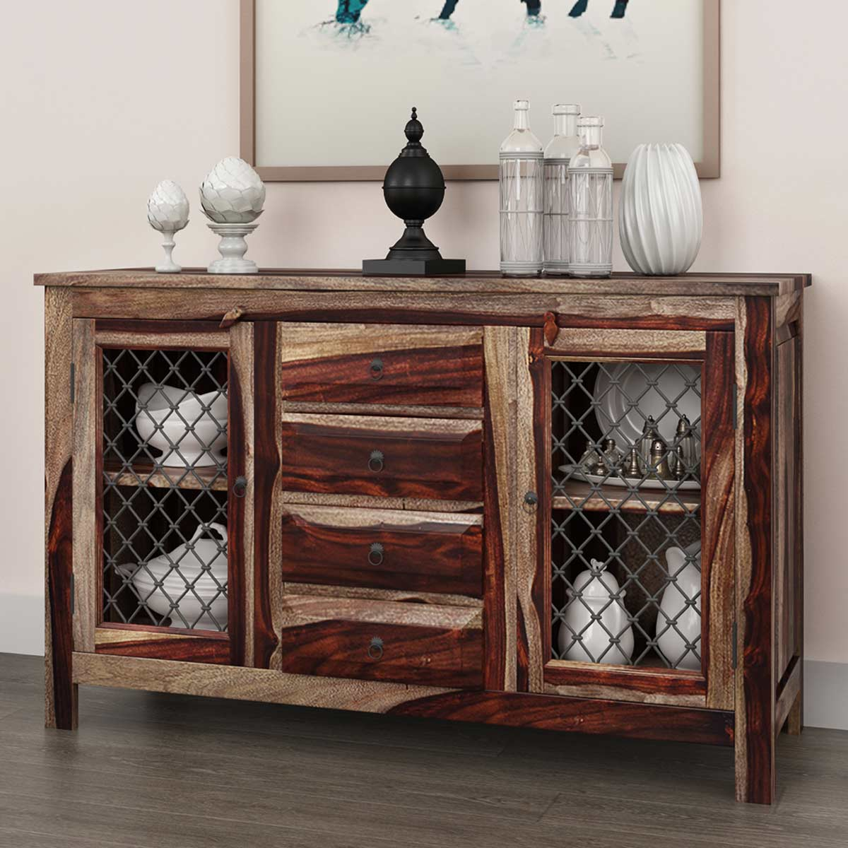 Florida traditional rustic solid wood drawer sideboard