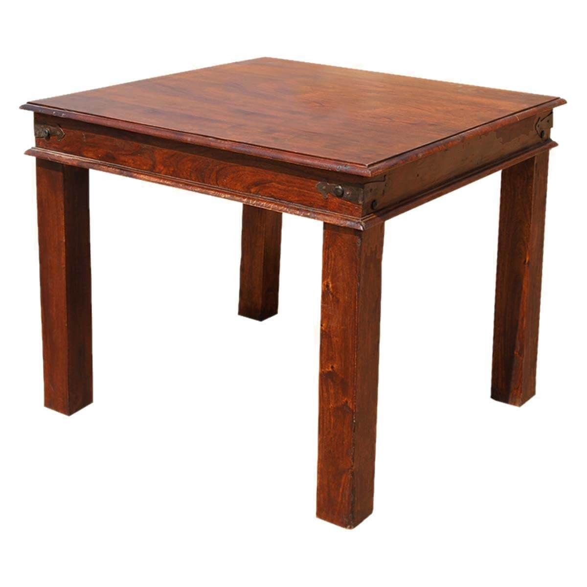 Grogan rustic solid wood square dining table for Solid wood dining table