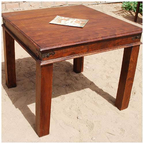 Dining tables grogan rustic solid wood 4 seater square dining table