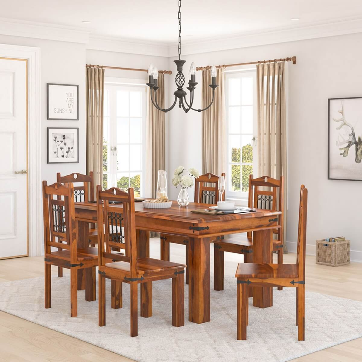 Transitional Dining Room Table: Philadelphia Classic 7pc Transitional Dining Room Table