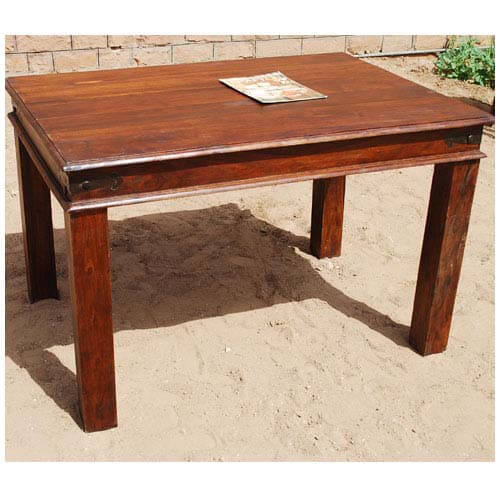 Fannin solid wood handmade rustic dining room table for Dining room tables handmade