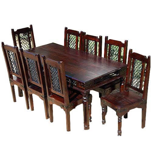 8 person dining room set   Rustic Wood Philadelphia Dining Room Table and Chair Set ...