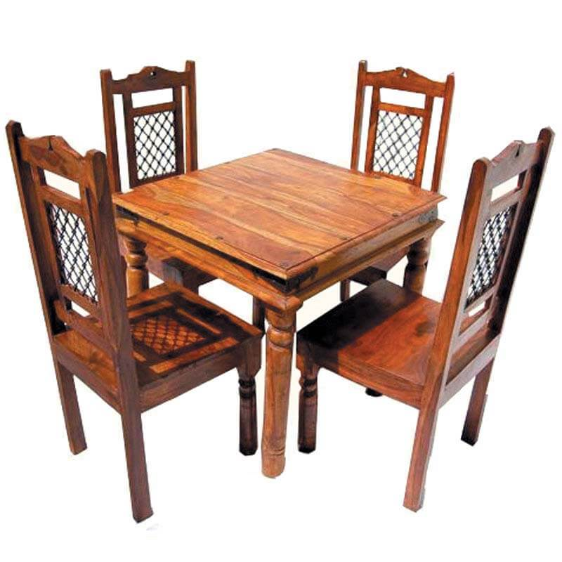 Philadelphia Rustic Wood 5pc Square Dining Table And Chair Set