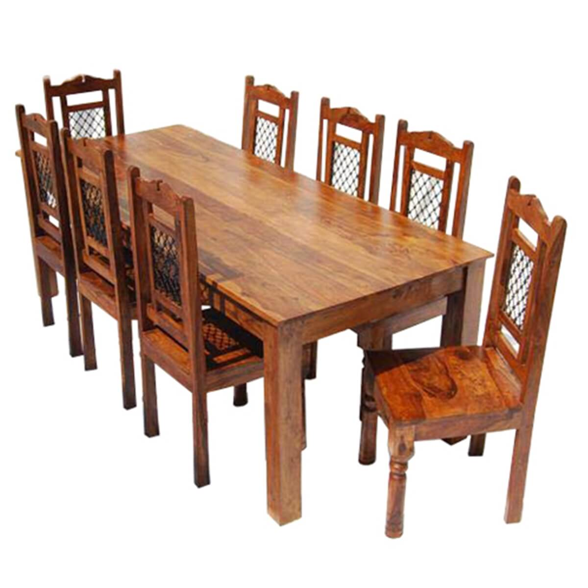 philadelphia solid wood rustic transitional 9pc dining table chair set. Black Bedroom Furniture Sets. Home Design Ideas