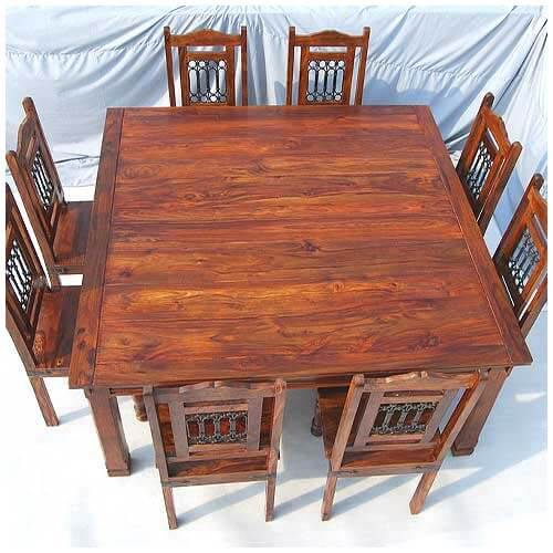 8 Chair Square Dining Table: Rustic Large Square Dining Table Chair Set Transitional Style For 8 People