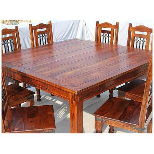 rustic large square dining table chair set transitional style for 8