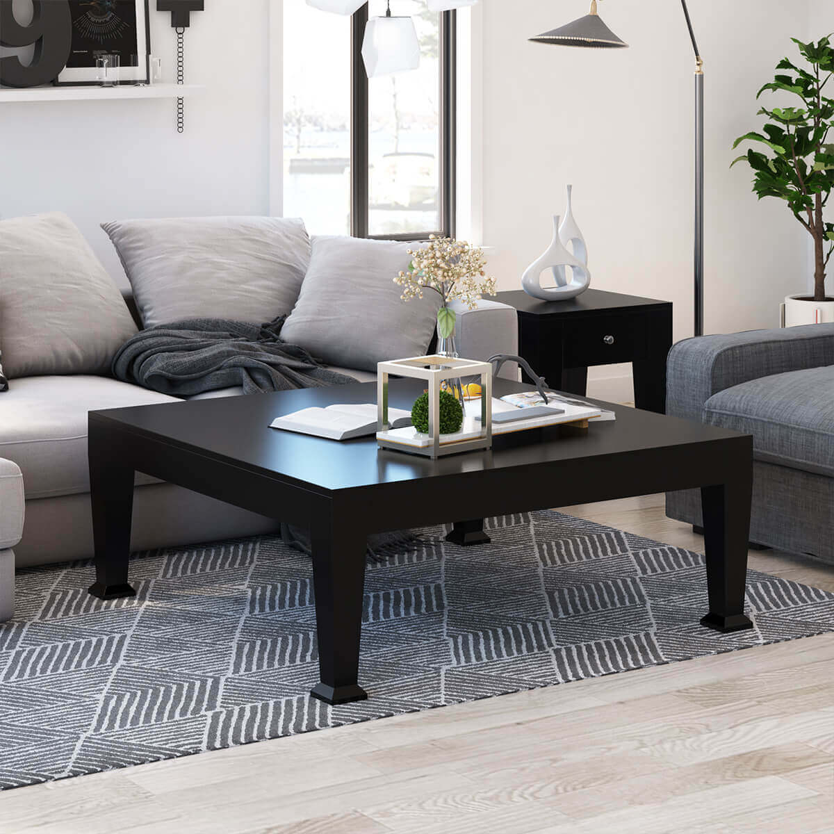 Rustic Coffee Table: Rustic Solid Wood Black Large Square Coffee Table Living
