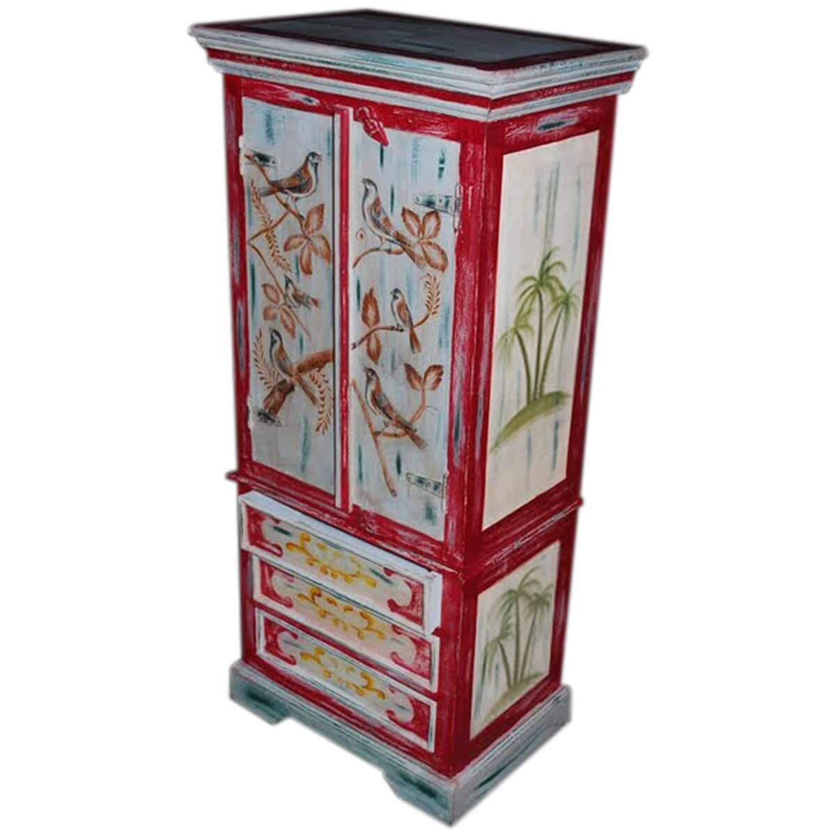 Moravia solid wood hand painted 3 drawer armoire closet for Kitchen wardrobe cabinet