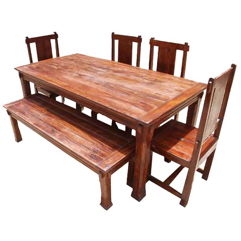 Rustic solid wood santa cruz dining table set for Solid wood dining table sets